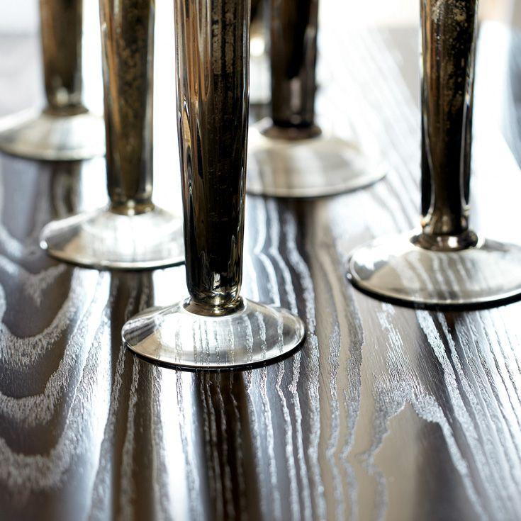 Bernhardt. Mercer Sideboard, lively flat cut ash veneers, Java finish. Detail with candlesticks