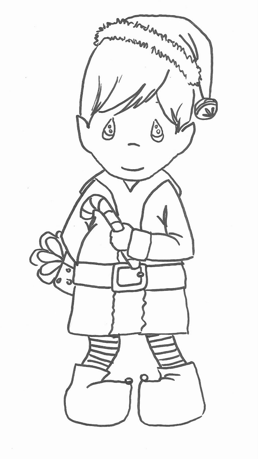 christmas coloring pages for boys | precious moments boy elf coloring pages | christmas ...