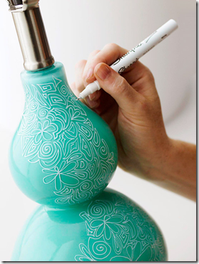Dress up a plain lamp with a white sharpie. Love this.