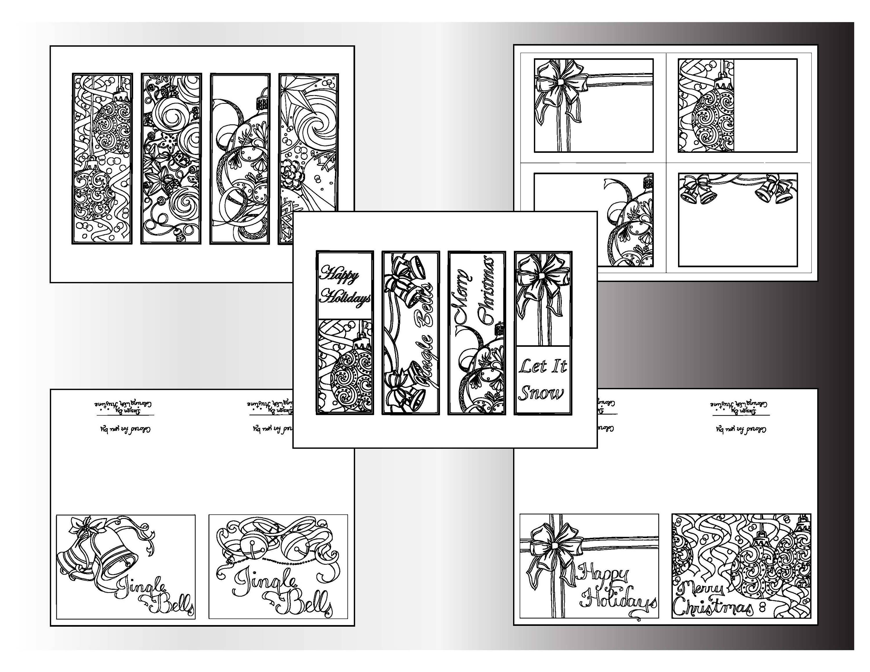 christmas coloring bundle printable designs holiday bookmarks color