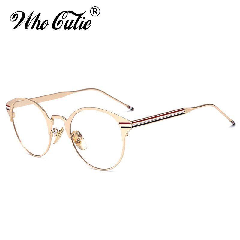 365cd76246 WHO CUTIE Brand 2018 Fake Glasses Men Women Retro Vintage Metal Circle Frame  Nerd Plain Clear Lens Optical Gold Eyeglasses OM30.