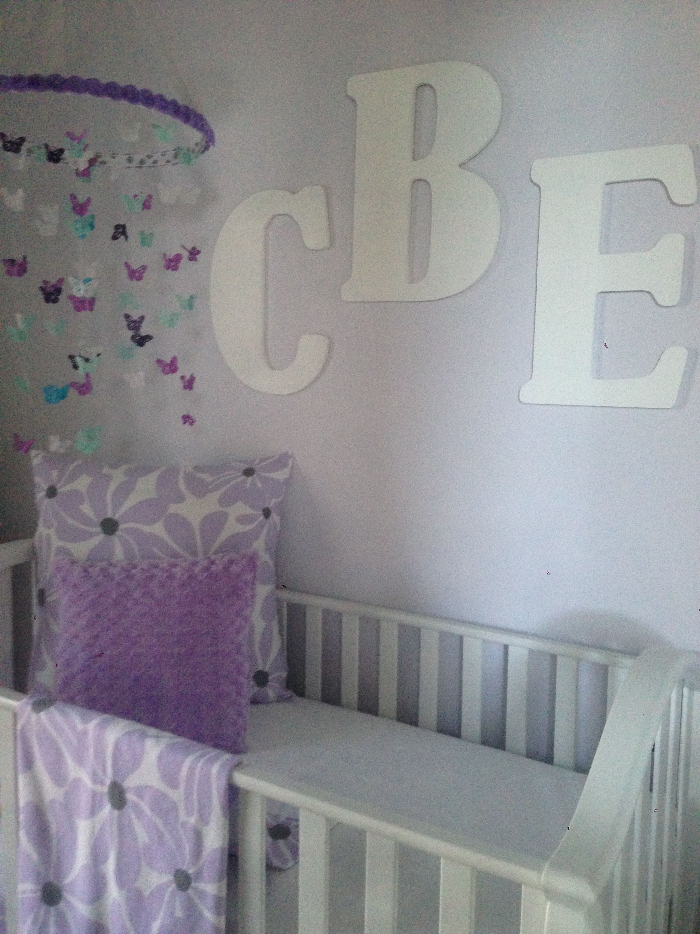 Lavender, Mint And Grey Baby Girl Nursery Custom Butterfly Mobile,