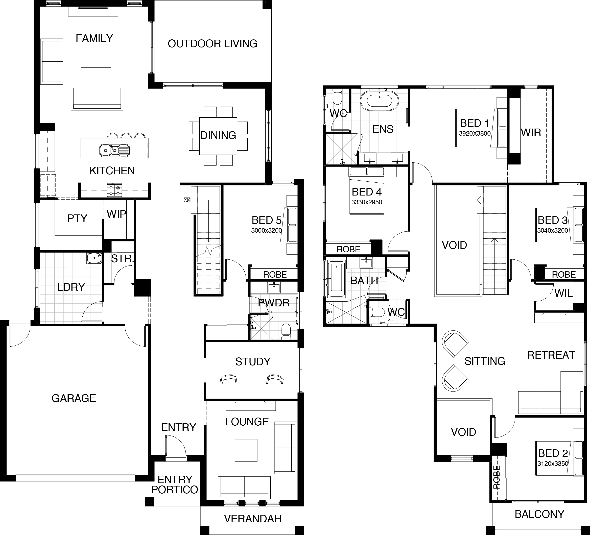 Kensington Collection Floor Plan Two Storey 5 Bedroom Guest Room On Main Floor Two Storey House Plans House Plans House Floor Plans
