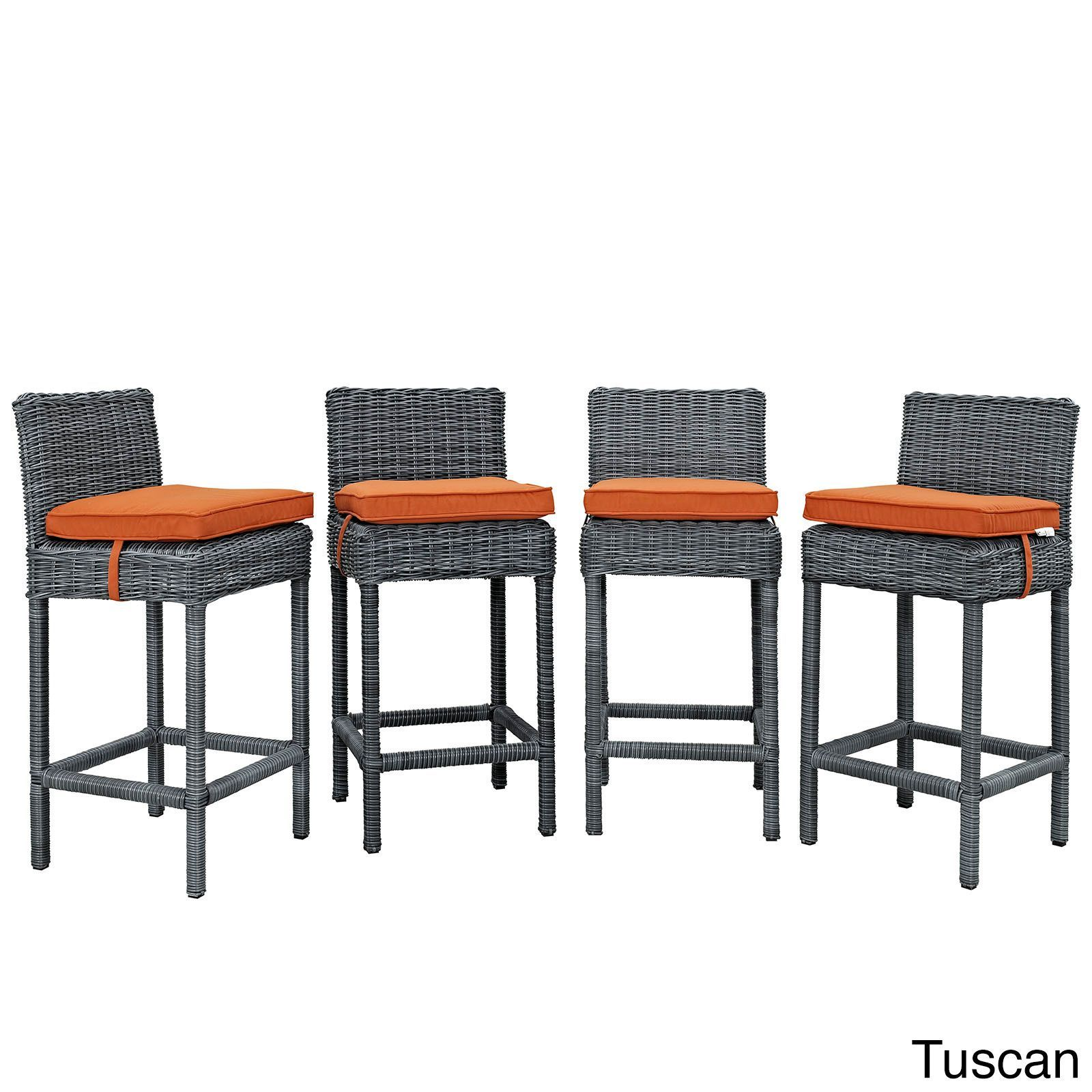 Modway Invite Synthetic Rattan Outdoor Patio Bar Stool Set of 4