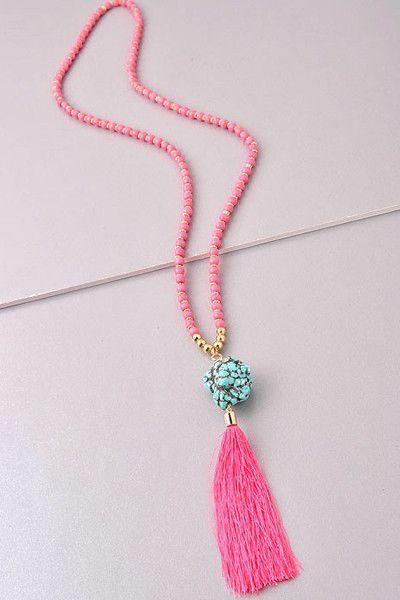 bd5fc47ab7f0 Pretty in Pink Tassel Necklace Más