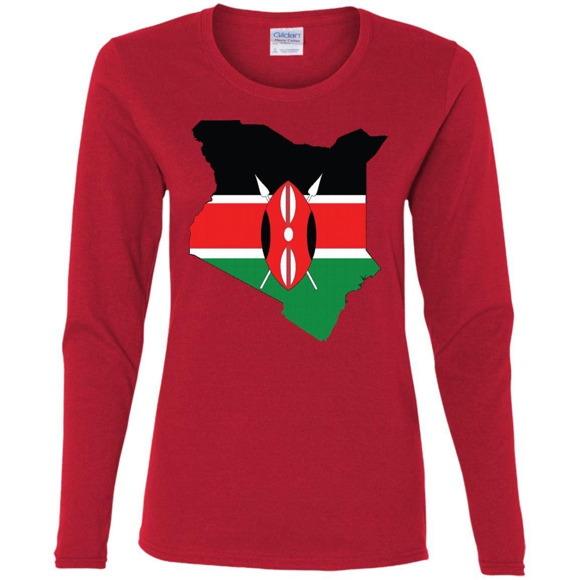 Kenya flag-01 G540L Gildan Ladies' Cotton LS T-Shirt