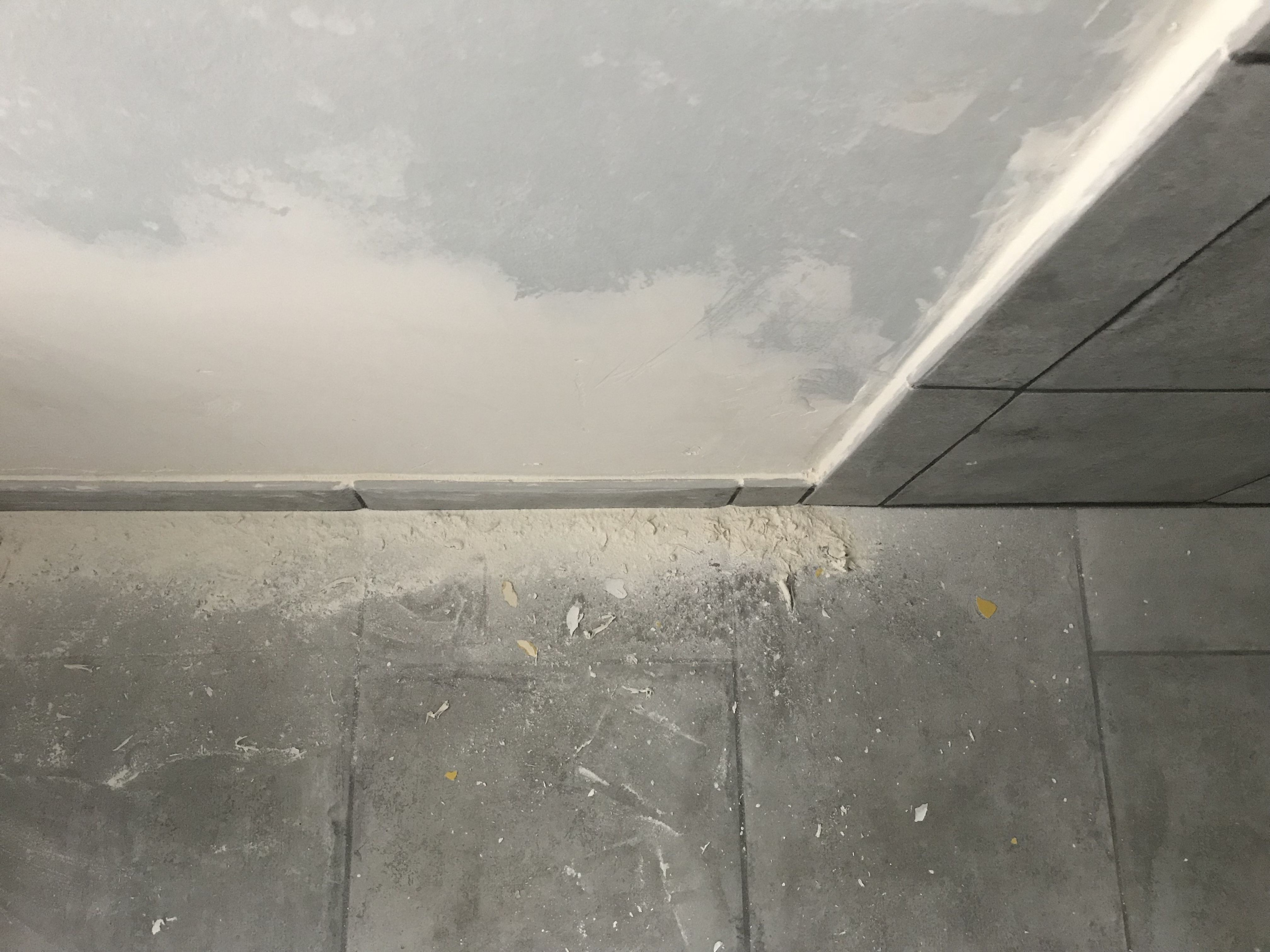 Trying To Finish Drywall Myself Tile Probably Sticks Out From The Wall To Align These Pieces There S A Big Gap Between The S Shower Tile Tiles It Is Finished