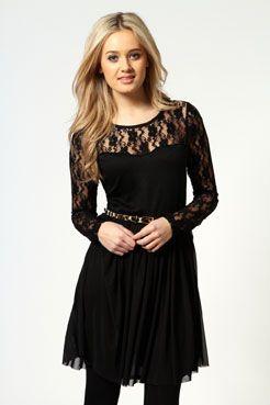 7ba0affc1c87 Shellie Lace Long Sleeve Mesh Skater Dress