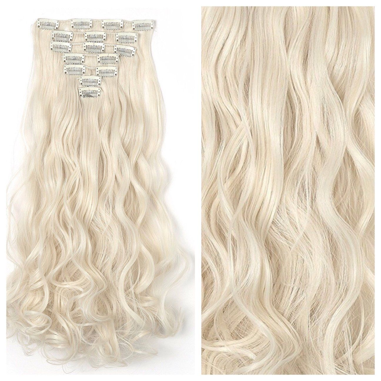 Platinum Blonde Clip In Hair Extensions 24 Curly Remy Human Hair