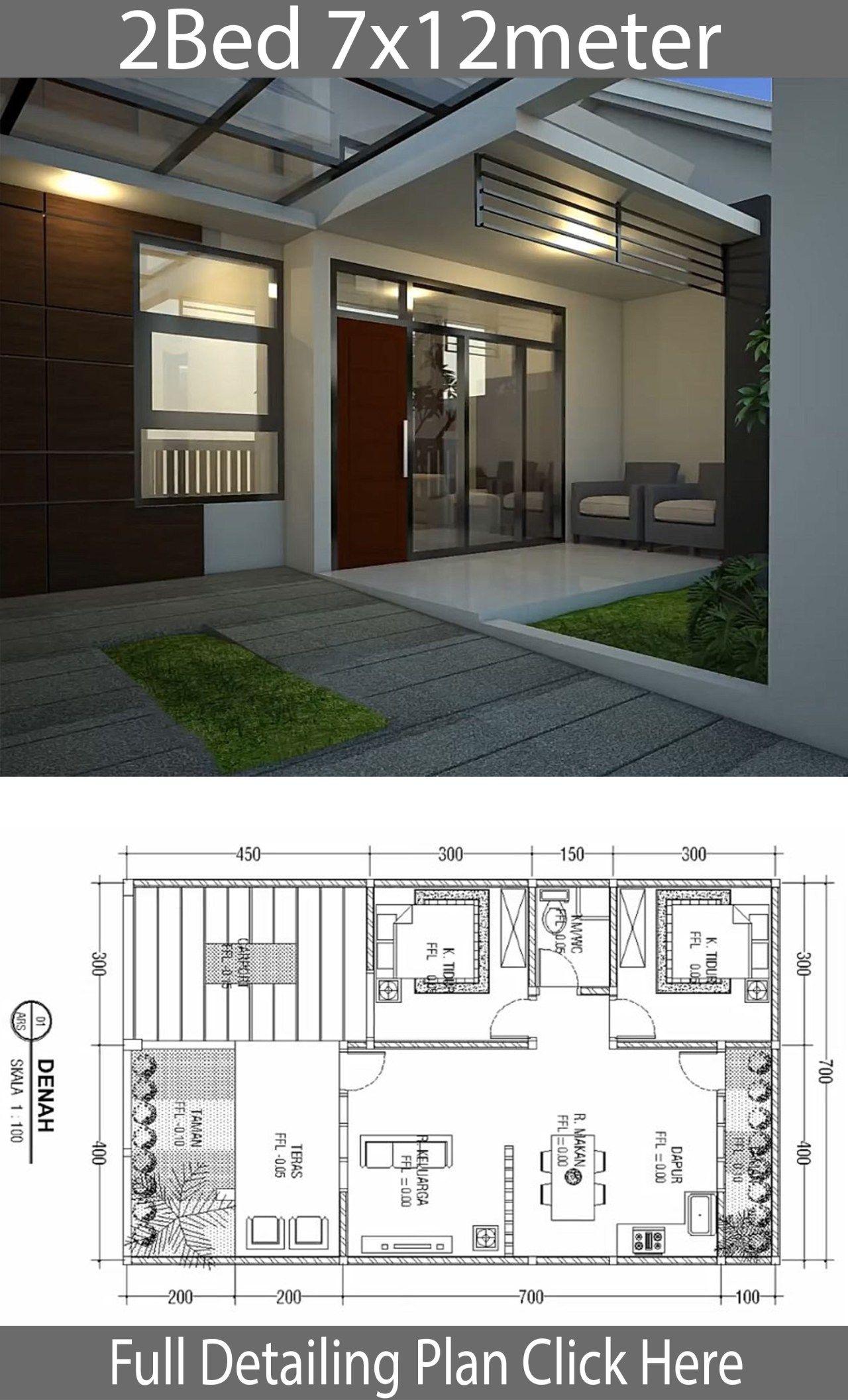Minimalist Floor Design One Floor House 7x12m Home Ideas Village House Design Craftsman House Designs Minimalist House Design