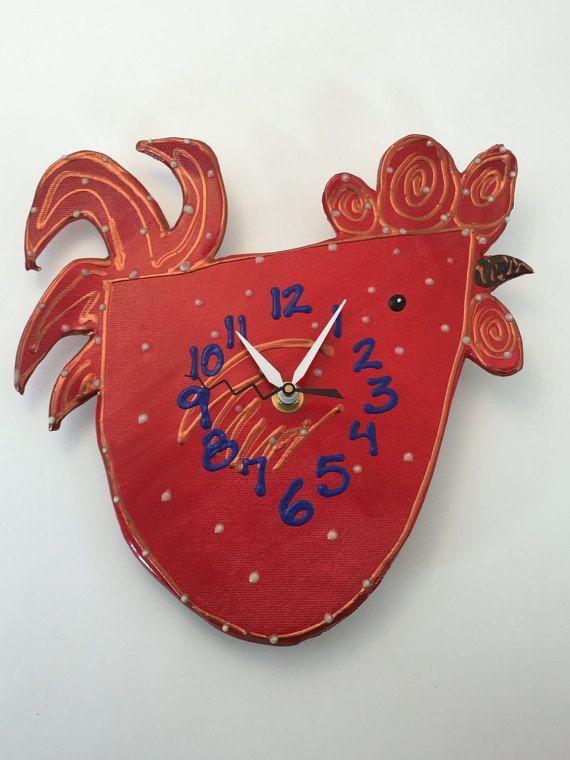 Wall Clock  Rooster ClockKitchen Clock Animal by PondScumCeramics