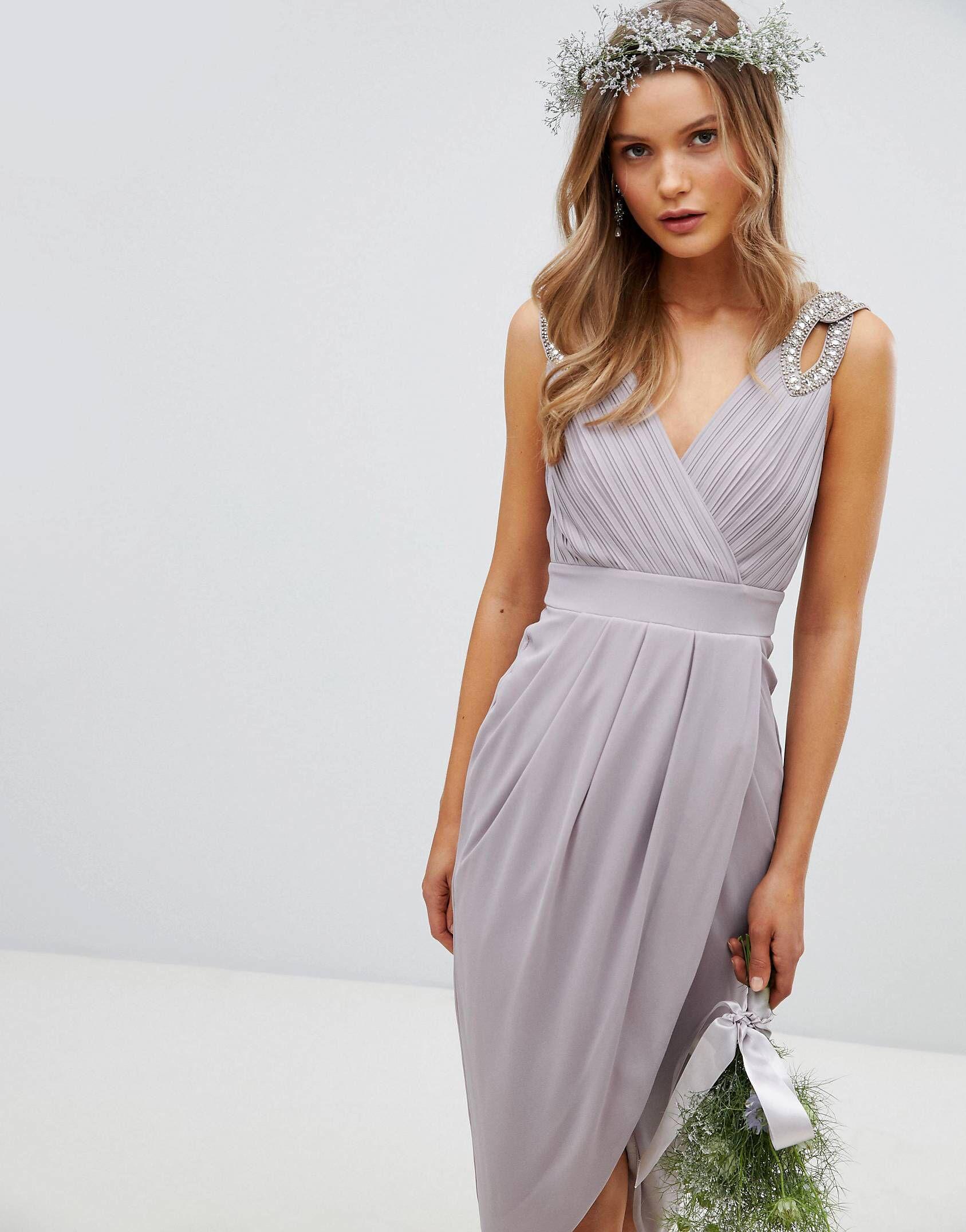 01f2fa17d8 Tfnc Wrap Midi Bridesmaid Dress With Embellished Shoulder In Grey ...