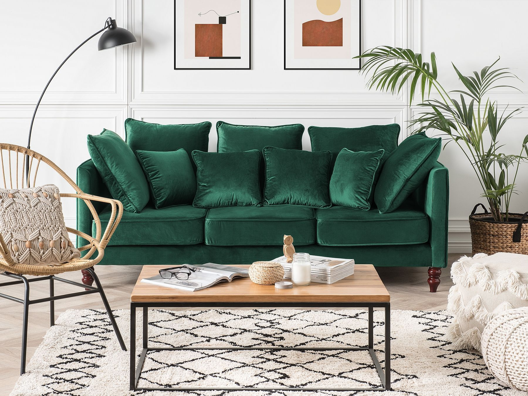 3 Seater Velvet Sofa Emerald Green FENSTAD in 2020 | Green ...