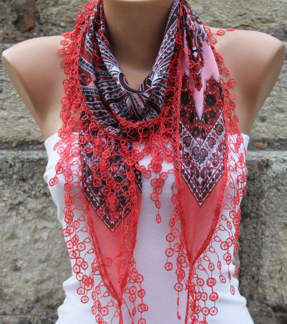 Hot Pink Scarf   Cotton  Scarf  Headband Necklace Cowl by fatwoman, $15.00