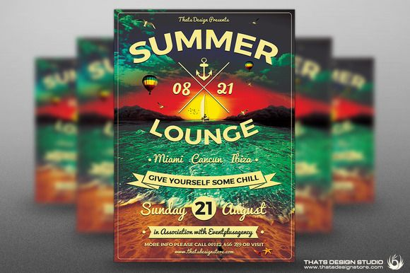 Summer Lounge Flyer Template V  Studios Flyer Template And Flyers