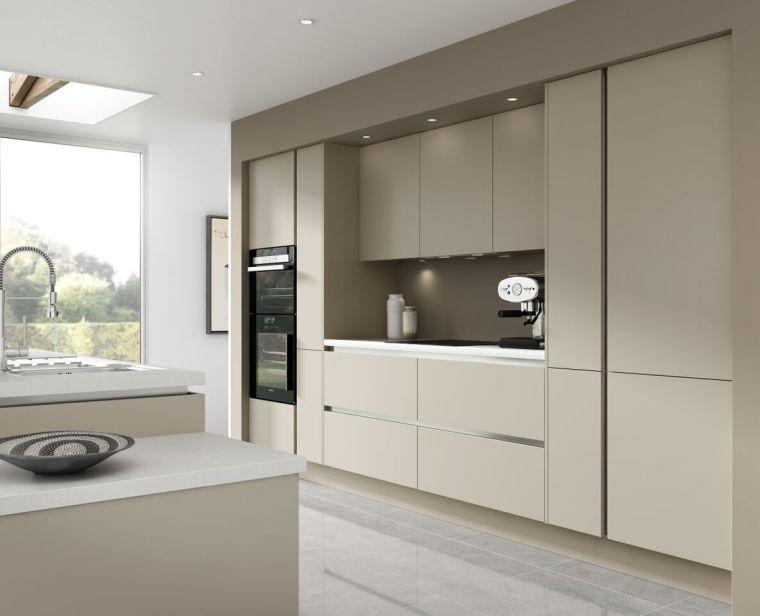 meuble de cuisine couleur beige et gris nuances de taupe