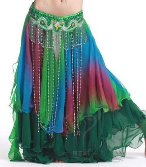 Green Satin 2 Front Slit Full Skirt Belly Dance Gypsy Tribal Costume 9 Yard