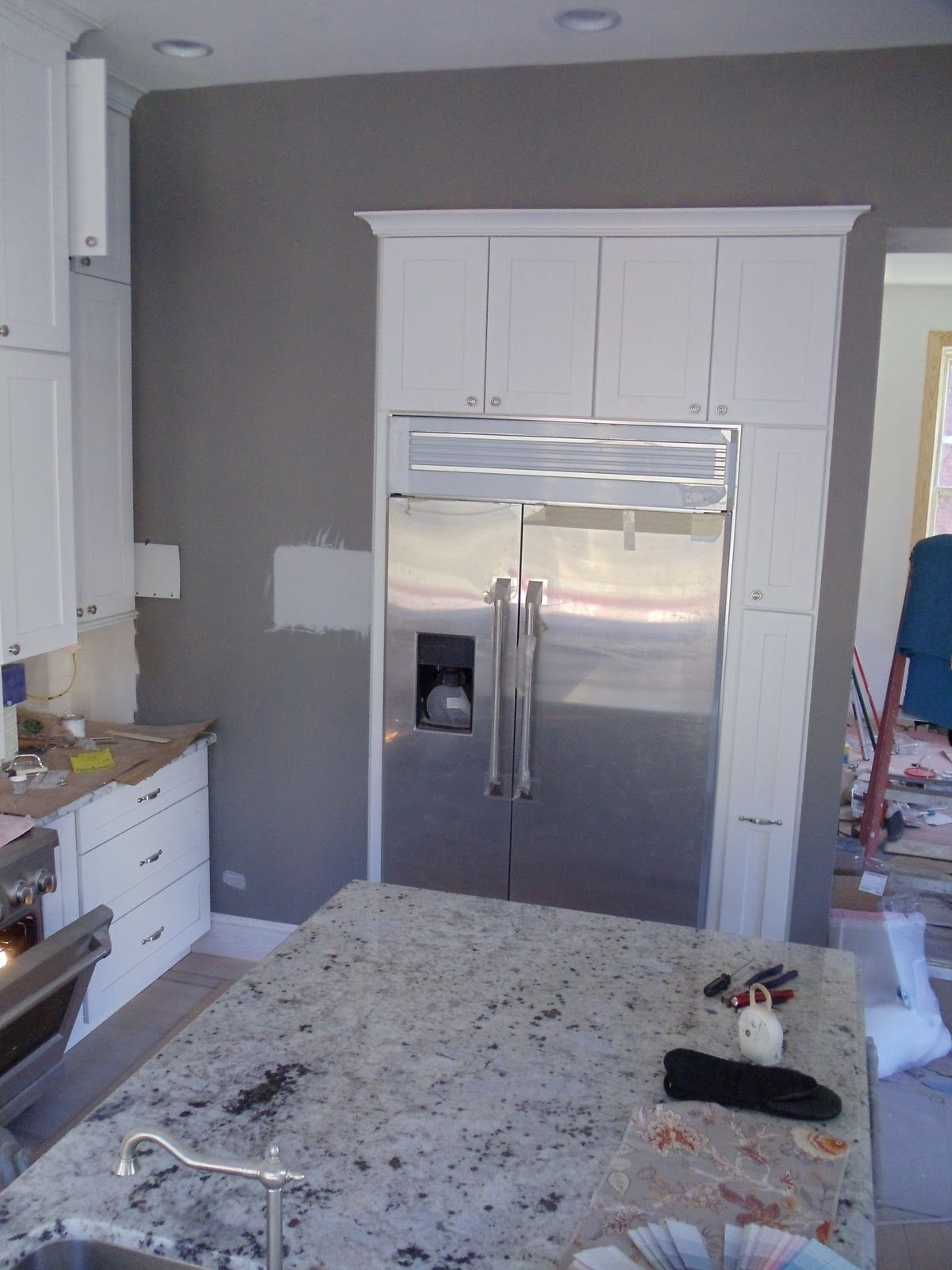 Kitchen gray walls white cabinets i love the way these cabinets are around the fridge Kitchen designs with grey walls