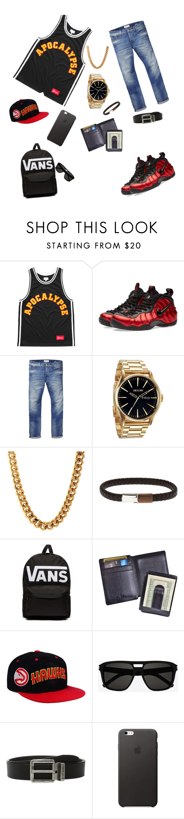 """""""Street wear fly"""" by yasin-rhodes ❤ liked on Polyvore featuring NIKE, Scotch & Soda, Nixon, King Ice, Vans, Royce Leather, adidas, Yves Saint Laurent, Diesel and men's fashion"""