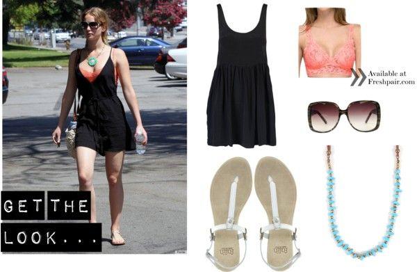 Jennifer Lawrence rocked a coral bralette under her loose, deep-v little black dress.