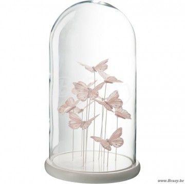 J Line Glazen Stolp Met Vlinders Licht Roze L 45h Met Afbeeldingen Licht