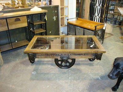 Furniture Factory Cart Glass Top Coffee Table Furniture