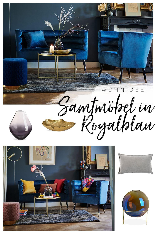 Samtmöbel in Royalblau stehen in diesem Jahr hoch im Kurs. Jetzt