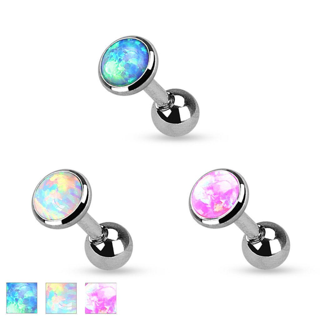 Purple Fire Opal Stud Cartilage Earring Green Opal Helix Piercing Pink opal barbell piercing 5 colors for choice-Dainty White Opal Earring