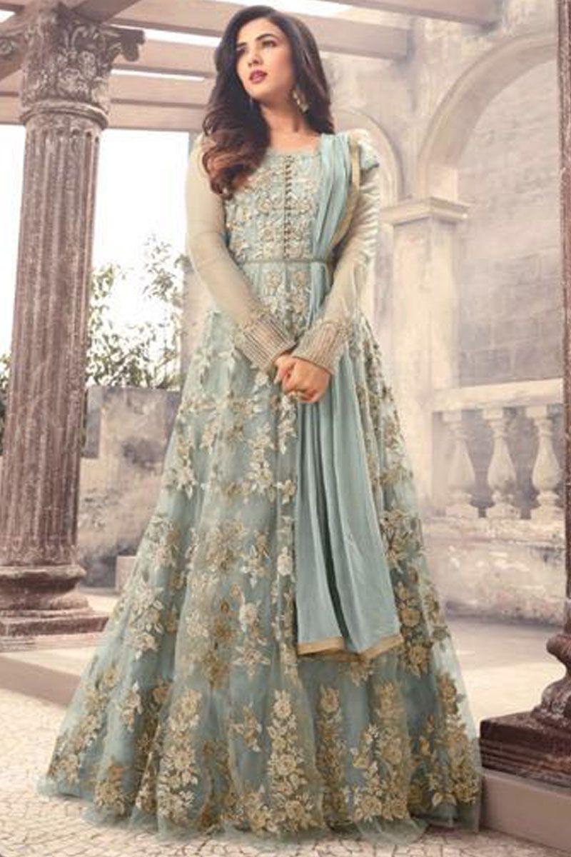 170460d8f4 Sonal Chauhan Gorgeous Grey Party Wear Net Fabric Designer Floral Embroidery  Work Wedding Wear Bridal Style Fancy Floor Length Anarkali Suit #blackdress  ...