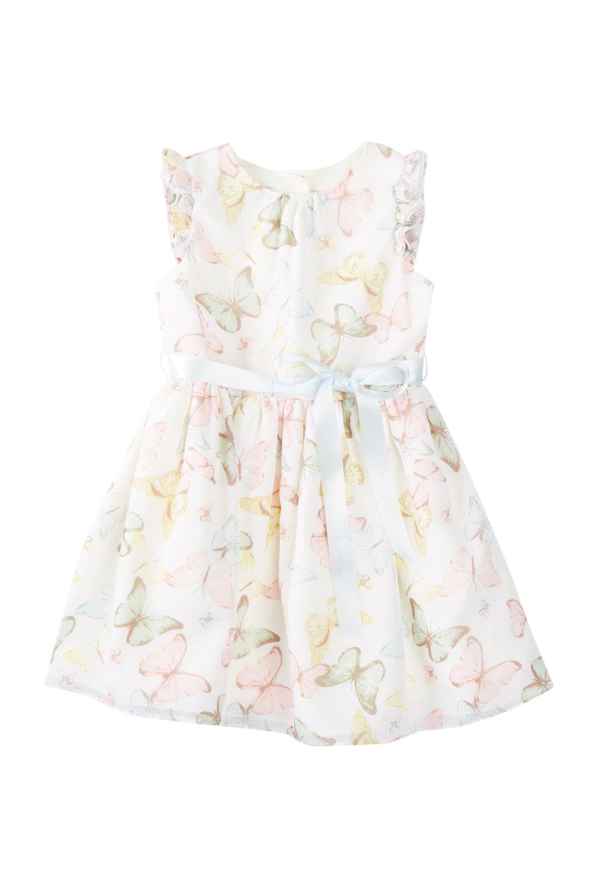 Butterfly Chiffon Print Dress Toddler Girls