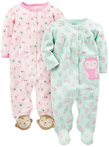Simple Joys by Carters Baby Girls 2-Pack Cotton Footed Sleep and Play