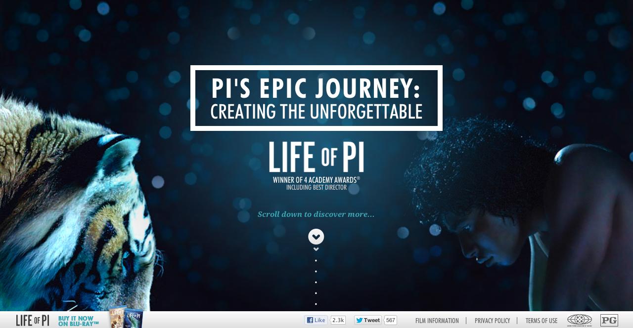 Pi S Epic Journey Beautiful Parallax Website Histoire De Pi Web Design Film