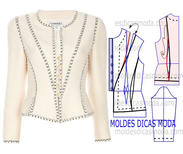 MOLDE DE CASACO CHANEL -33   Sewing   Pinterest   Jacket pattern ...