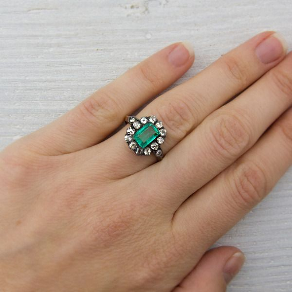 Antique French Victorian Emerald Engagement Ring
