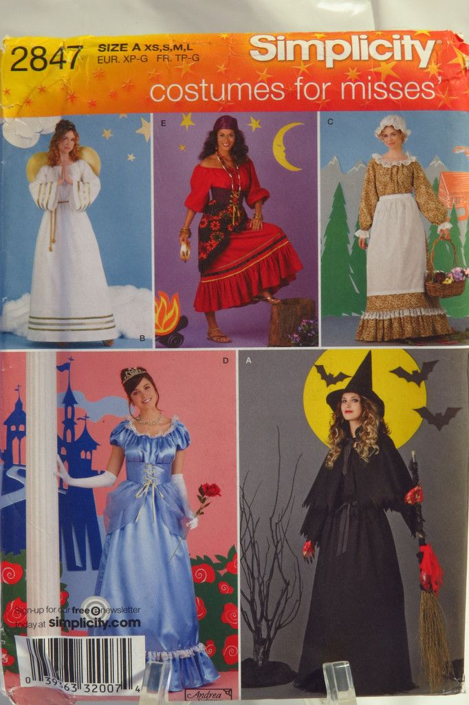 Simplicity 2847 Misses Costumes Halloween Costume Sewing Patterns