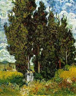 Cipreses con dos figuras de mujer (1889) Otterlo, Kröller-Müller Museum.  Vincent Van Gogh.