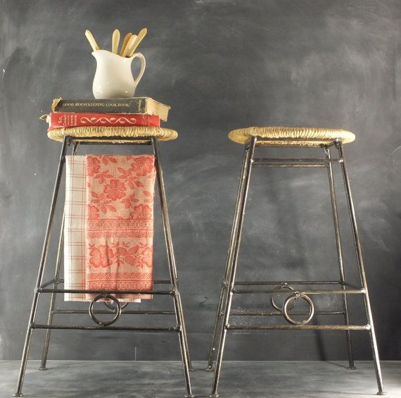 Vintage Pair Of Wrought Iron Stools // Stacking // A Frame // Woven