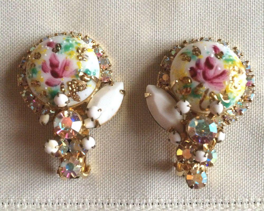 Juliana D & E Verified Rose Limoge Cabochon Rhinestone Earrings Set #JuianaDE #DropDangle