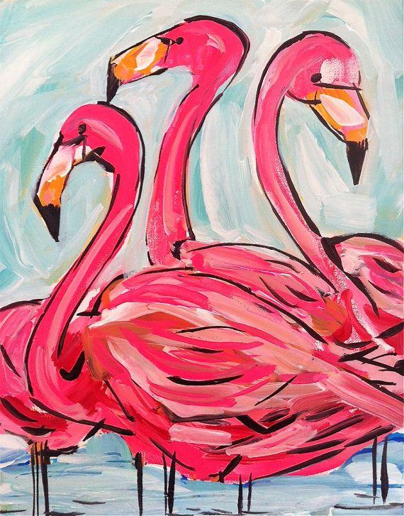Flamingo Painting, hot pink, abstract, aqua, wall art, original on Etsy, $55.00