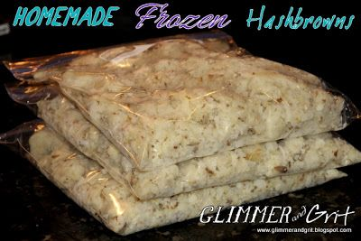 Glimmer & Grit: Homemade Frozen Hashbrowns for Pennies!!!