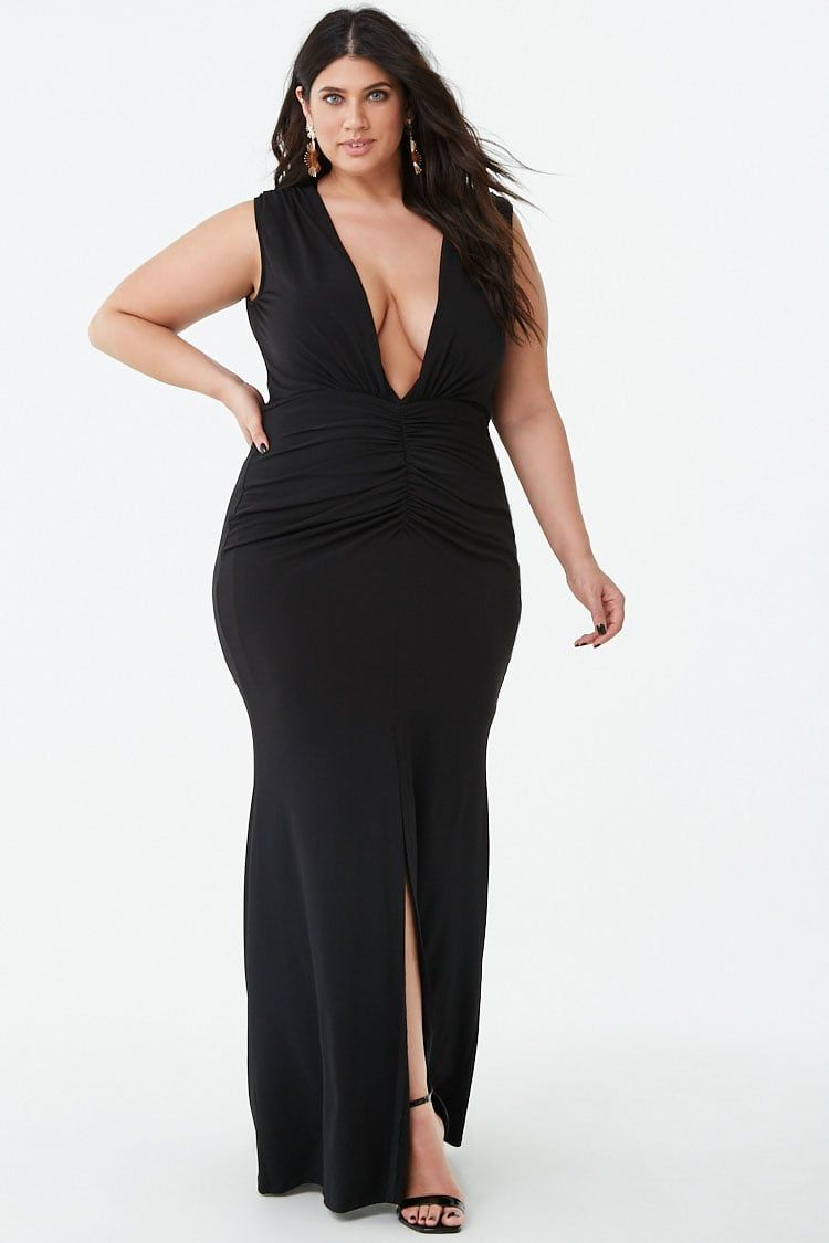 Plus Size Plunging Maxi Dress in 2019 | Plus size | Dresses ...