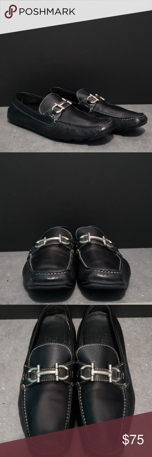 Salvatore ferragamo mens black leather