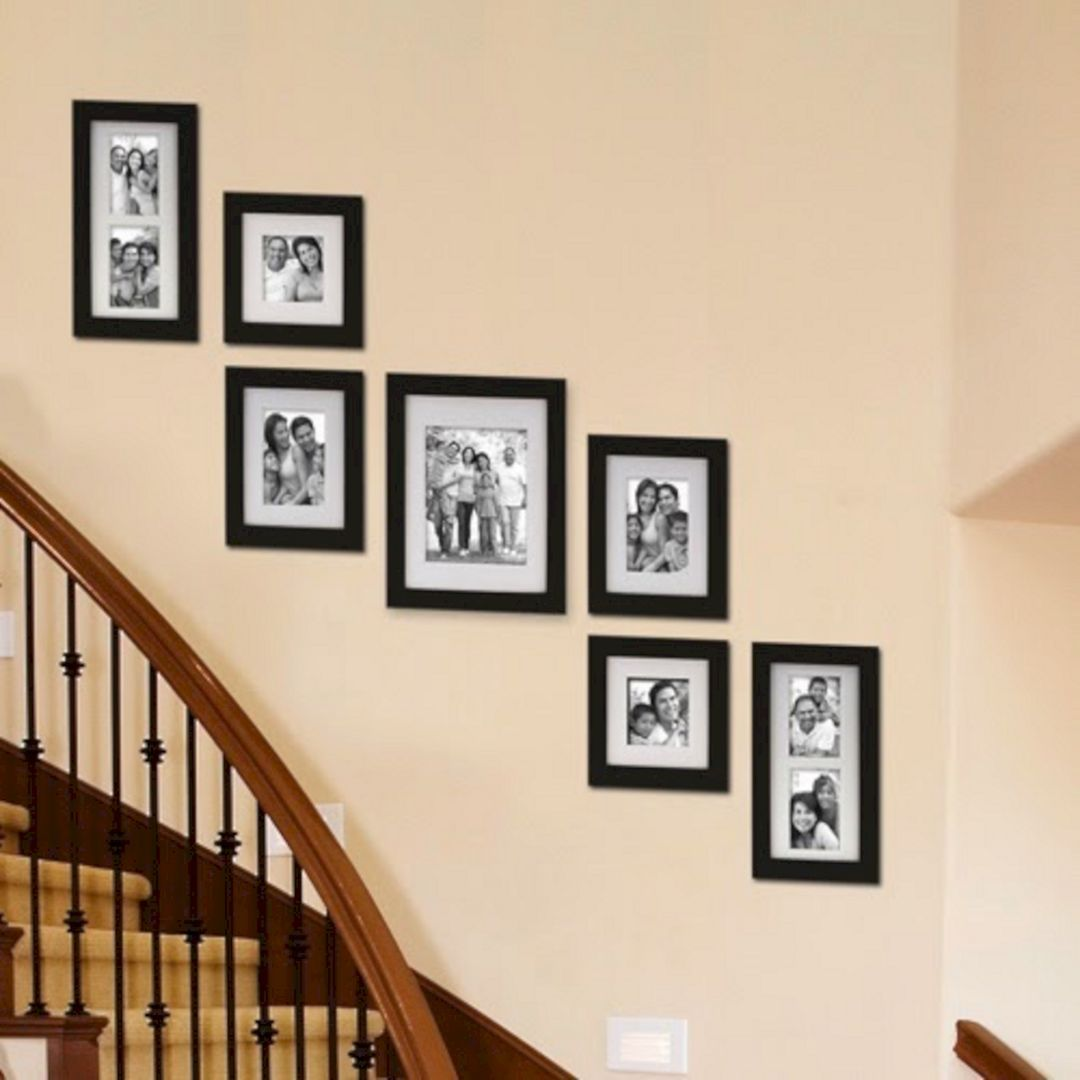 4 Diy Decorating Ideas For A Staircase: 65+ Awesome Arranging Pictures On A Stair Wall Ideas