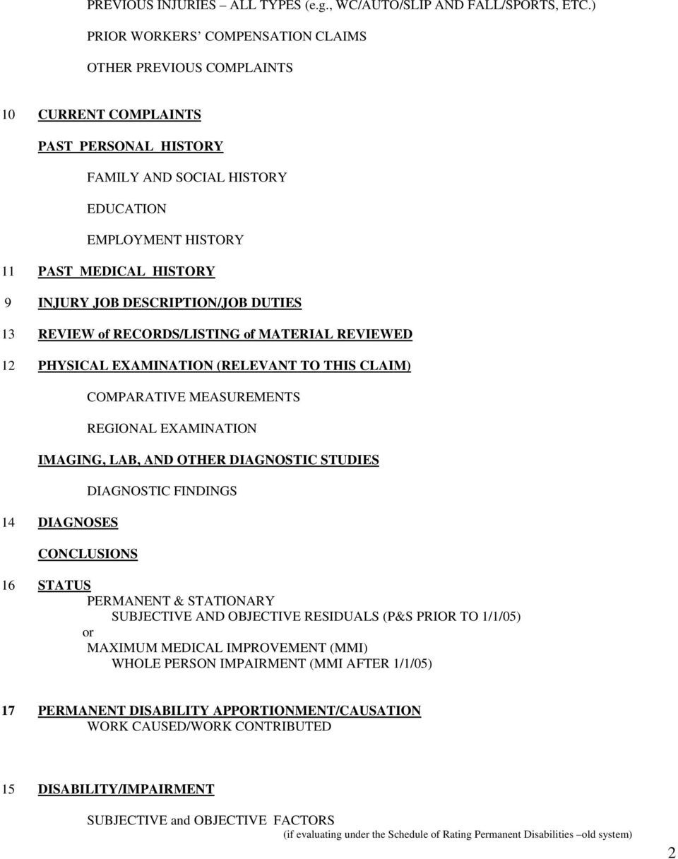 Template MedicalLegal Report Workers Compensation Pdf