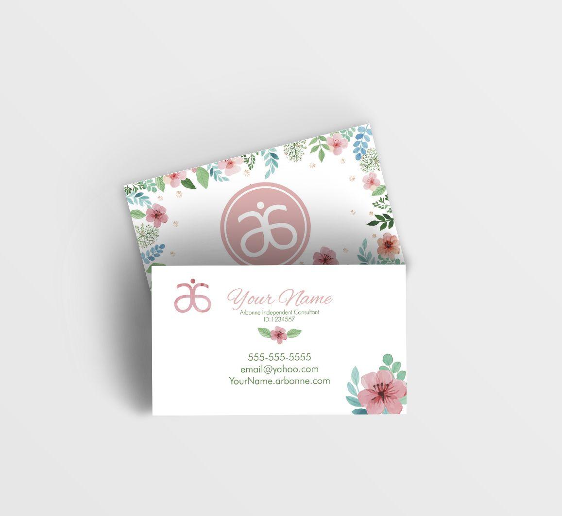 Arbonne Business Card Floral 2 0 Digital Design Arbonne Business Cards Arbonne Business Cards