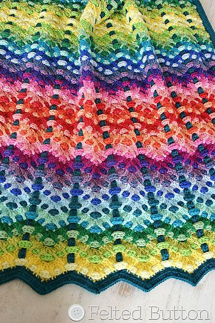 30 kleuren wol/katoen!Ravelry: Chromatic Cobbles Blanket pattern by Susan Carlson