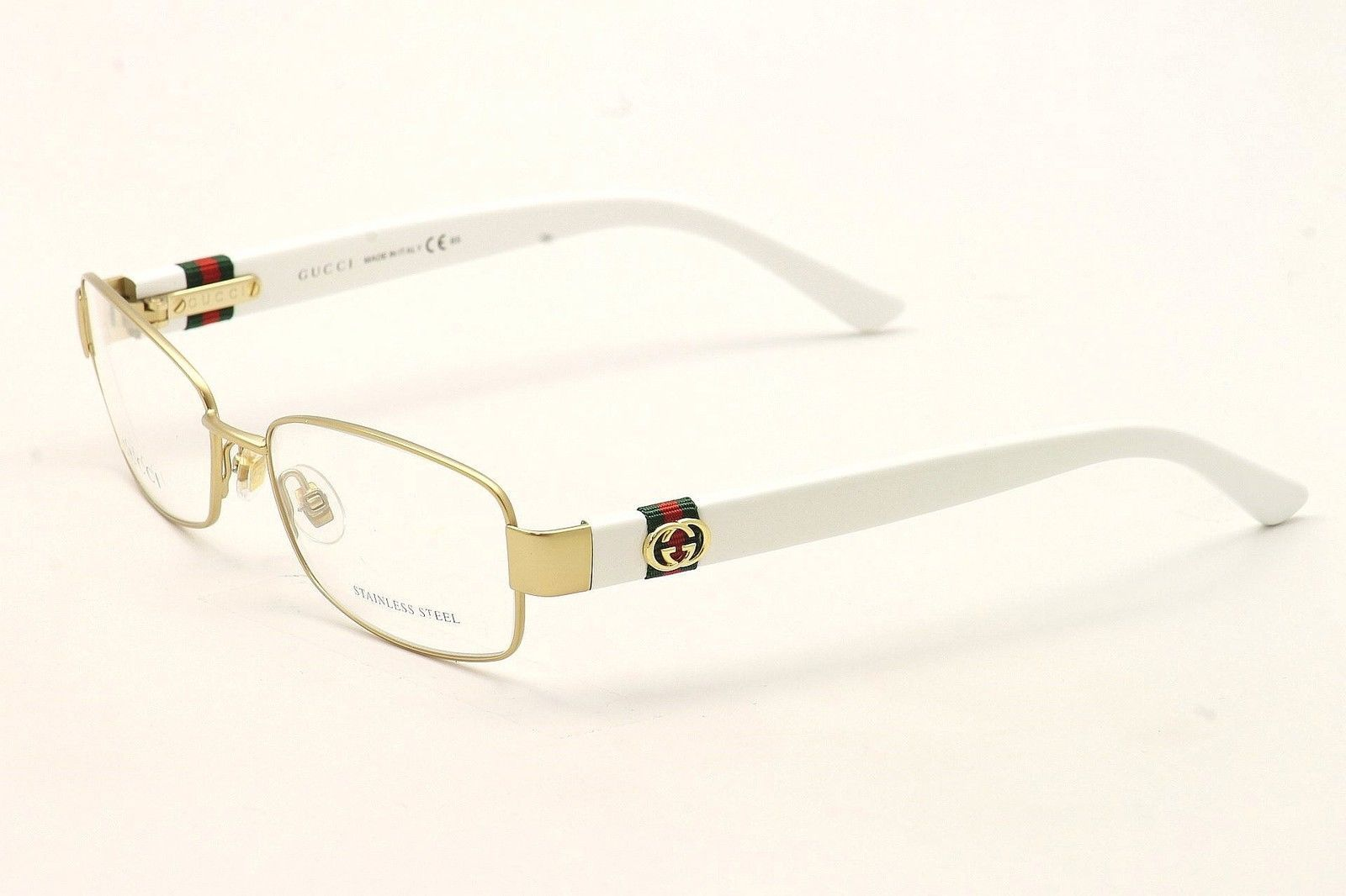 Gucci Women\'s Eyeglasses 4243 OZI Matte Gold White Full Rim Optical ...