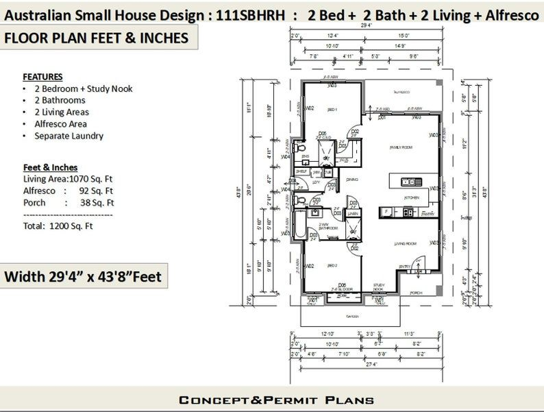 1200 sq foot house plan or 110 9 m2 2 Bedroom 2 Bathroom house plan 111 SBH Small & Tiny House Plans