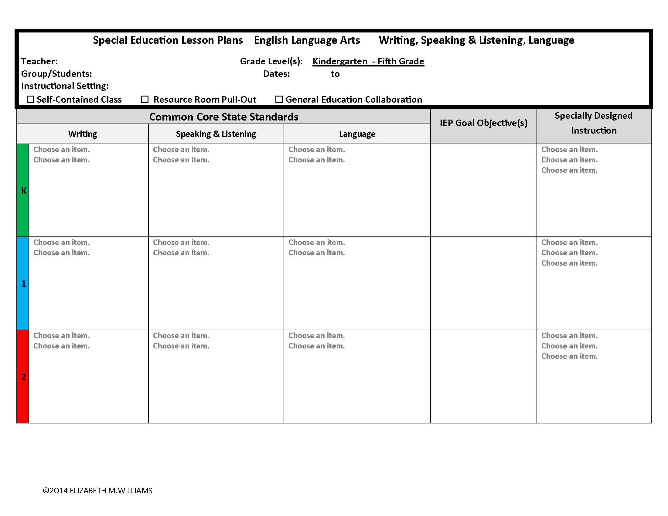 Common Core Aligned Interactive Special Education Lesson Plan Templates Combined Special Education Lesson Plans Interactive Lesson Plans Education Lesson Plans Special ed lesson plan template