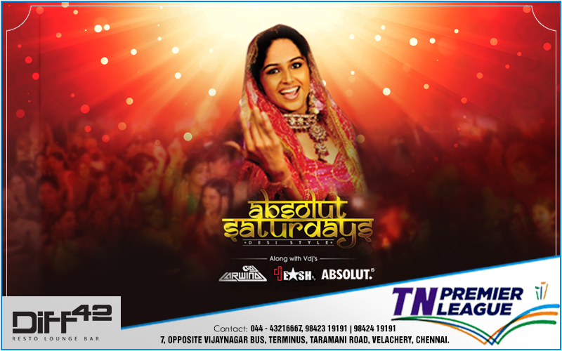 Show off your jatka moves as we have Djs- VDJ Arwind and VDJ EASH behind the sizzling console spinning crazy Bollywood mixes at Diff 42's Absolut Saturdays  Enjoy the Match on the Big Screen with the World's best Beer- ??Hoegaarden and ??Stella Artois  For more info, contact: 044-43216667, 9842319191, 9842419191  #7, Opposite Vijaynagar Bus Terminus, Taramani Road, Velachery, Chennai  #Cocktail #Drinks #Dine #Party #Diff42 #RestoLoungeBar #Chennai #Beer #Hoegaarden #StellaArtois